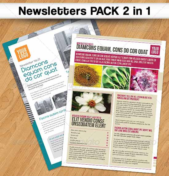newsletter templates 4 pages newsletter template newsletters pack 2 in