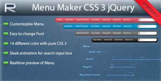 9. Menu Maker CSS3 jQuery