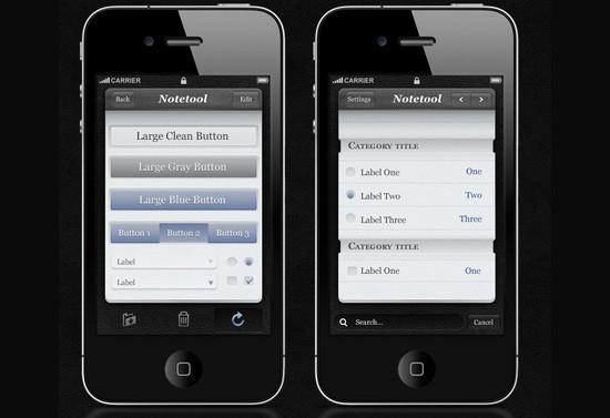 Free iPhone App UI Kit Psd