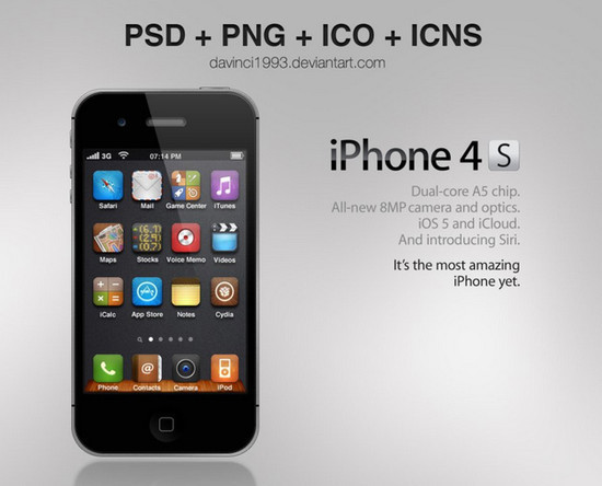Apple iPhone 4S: PSD + PNG + ICO + ICNS