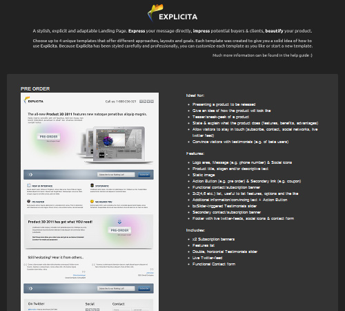 Explicita – Stylish & Explicit Landing Page (4in1)