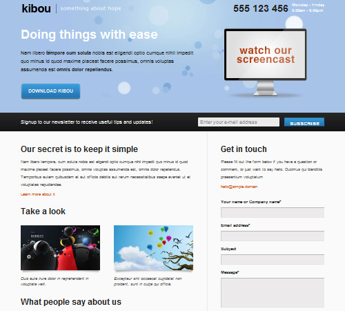 Kibou – Landing page for business