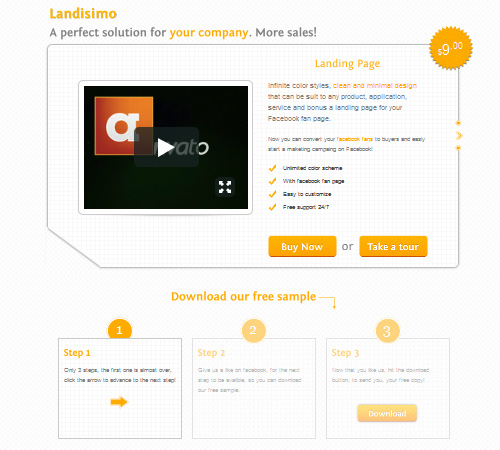 Landisimo – Landing Page with Facebook Template