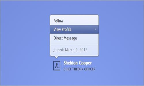 Animated popover of profile box
