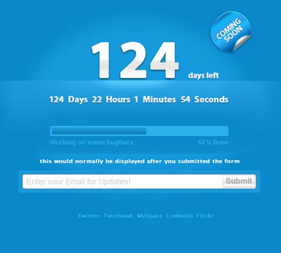 Clean Countdown Timer / Construction Page