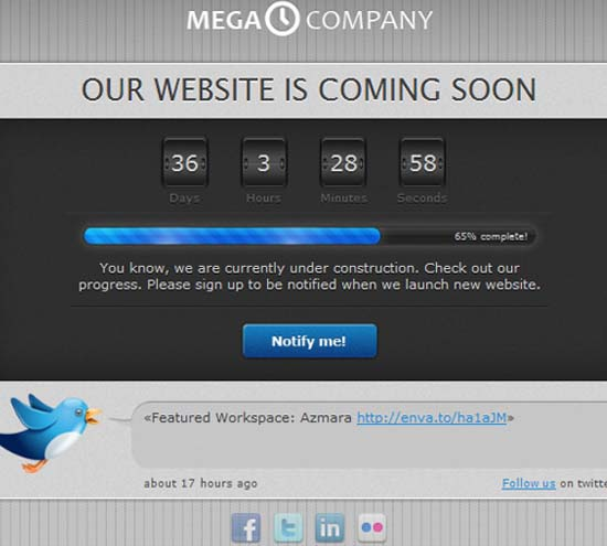 Under construction page – Coming Soon template