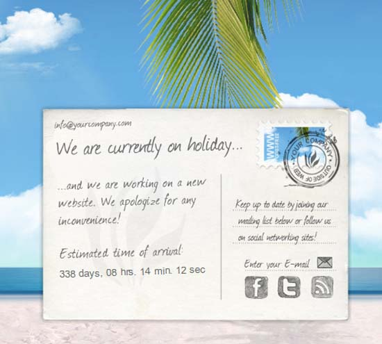 We're on holiday/Under Construction – XHTML Theme