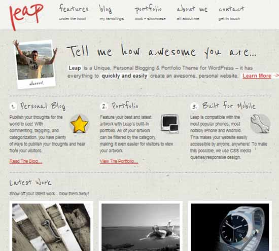 Leap – Unique Personal Blog / Portfolio Theme