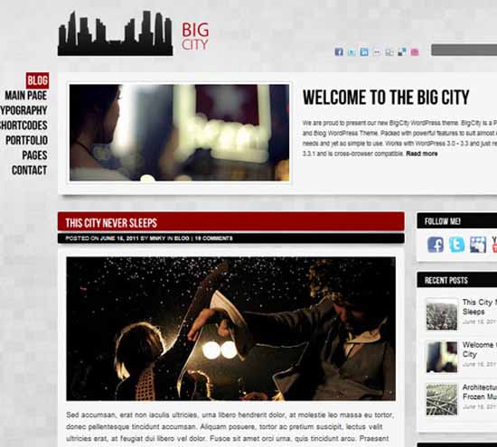 Big City – Personal and Blog WordPress theme