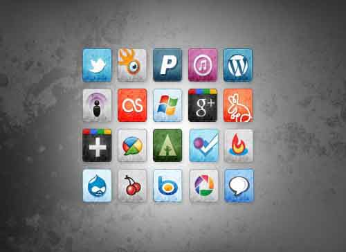 35-Free Stained and Faded Social Media Icons