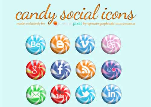 39-Candy Social Media Icons