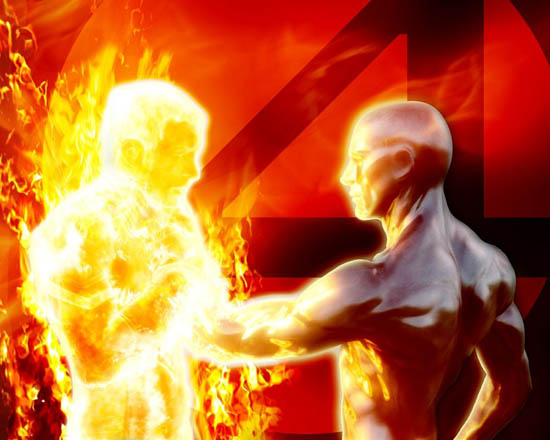 Human Torch and Silver Surface