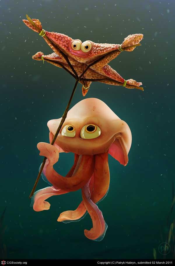 Starfish umbrella, RIGGING DEMO link, Patryk Habryn (3D)