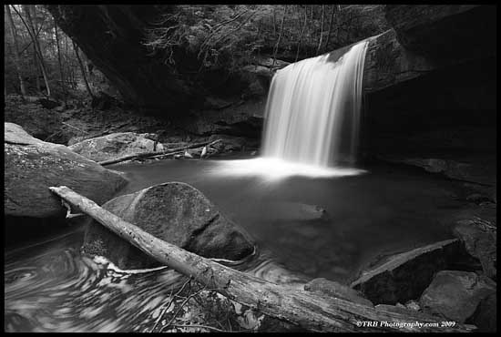 Waterfall Black and white photography