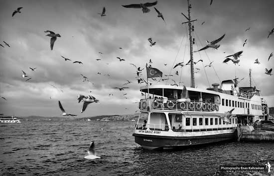Ship Black and white photography