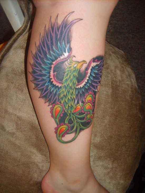Lower leg Phoenix Tattoo