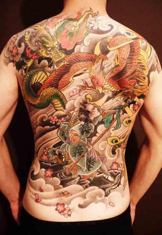 Full Back side Phoenix Tattoo