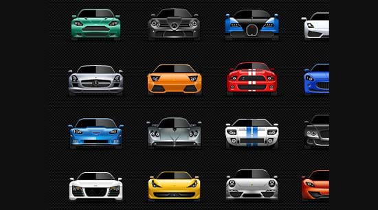 13-Sports Cars Icons