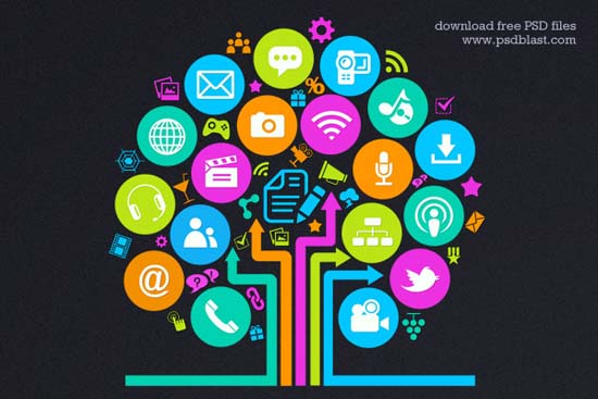 18-Social Media Tree Icon
