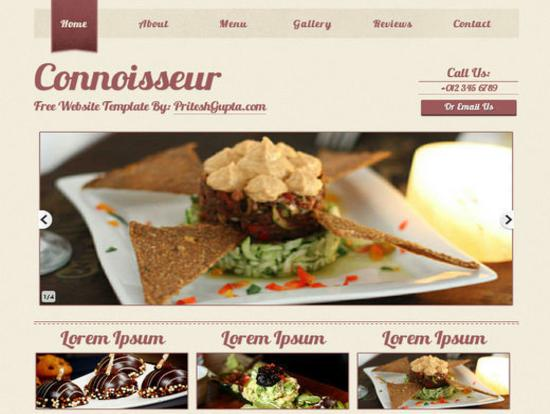 Connoisseur -- A Stylish Template for Food Related Blogs-Websites