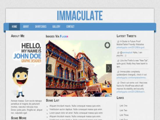 Immaculate 2 Template for Personal Blogs