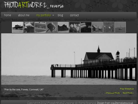 PhotoArtWork2_reverse Template for Photography blogs or Portfolios