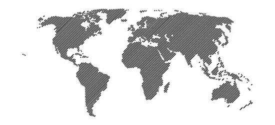 World Map 45° Lines Vector(.eps)