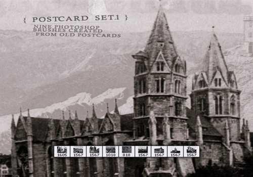 Old Post Card Brush Set