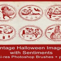 Vintage Halloween Brushes + png with Sentiments