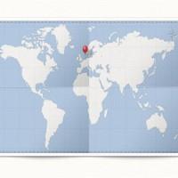 World Map & Pin (PSD)