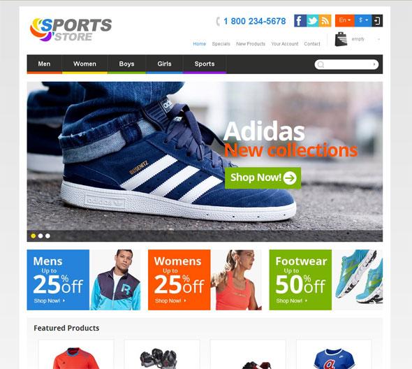 Sports Store. Responsive Prestashop design