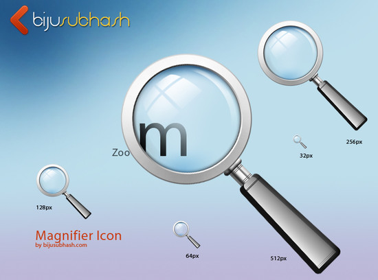 Magnifier Glass Icon (PSD)