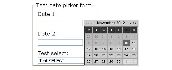 jQuery Calendar datepicker plug-in