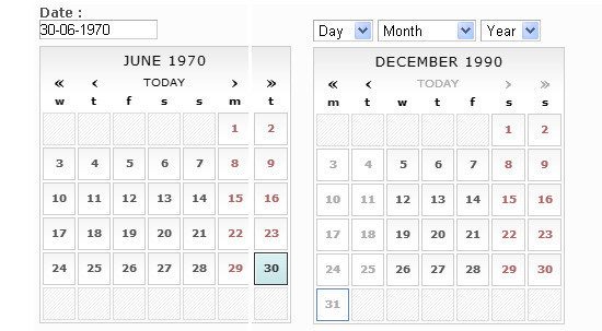 Unobtrusive Date-Picker Widget