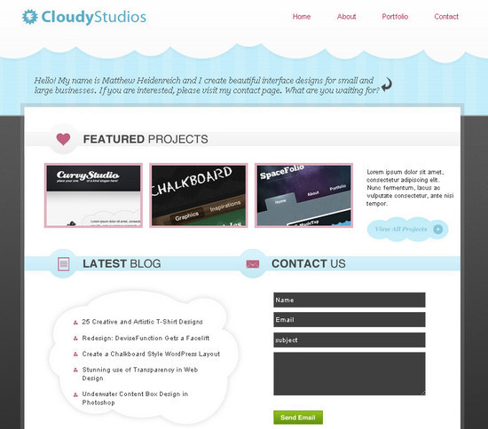PSD to XHTML: Simple & Cloudy Portfolio Layout