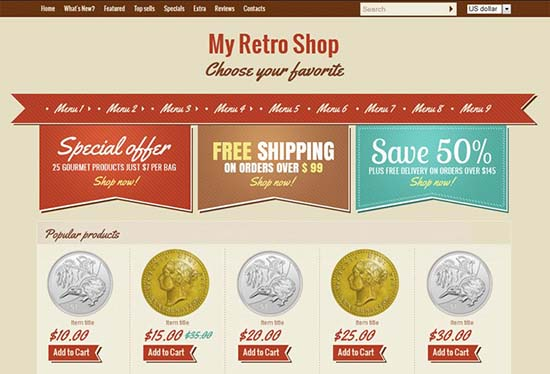 22. Retro Shop single page layout for your e shop