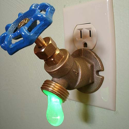 4-Green LED Faucet Valve Night Light