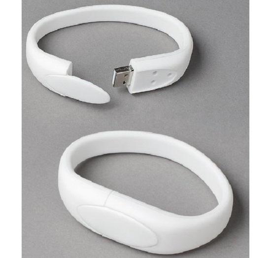 White Wristband USB Flash Memory Drive 8GB