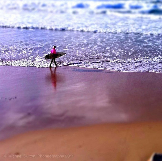 Lone pink surfer dude