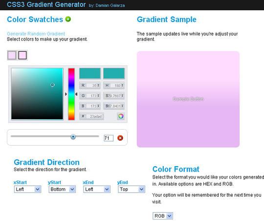 CSS3 Gradient Generator v2.0