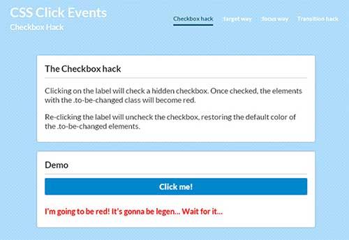 CSS Click Events