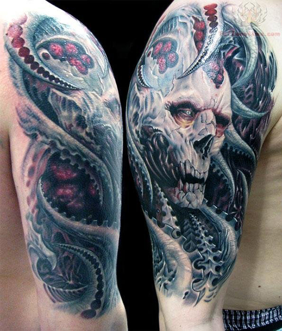 Tribal Skull Tattoo Sleeve