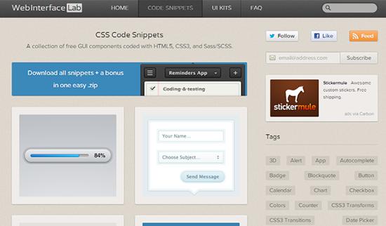 WebInterface Lab CSS Snippets