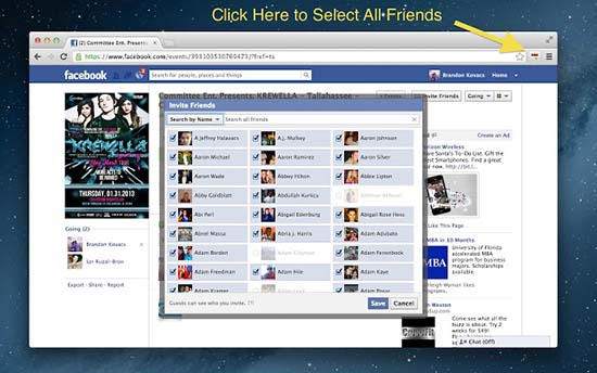 Auto Select All Facebook Friends