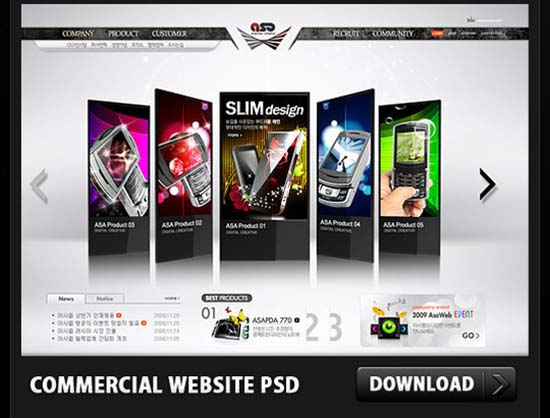 Commercial Website PSD File