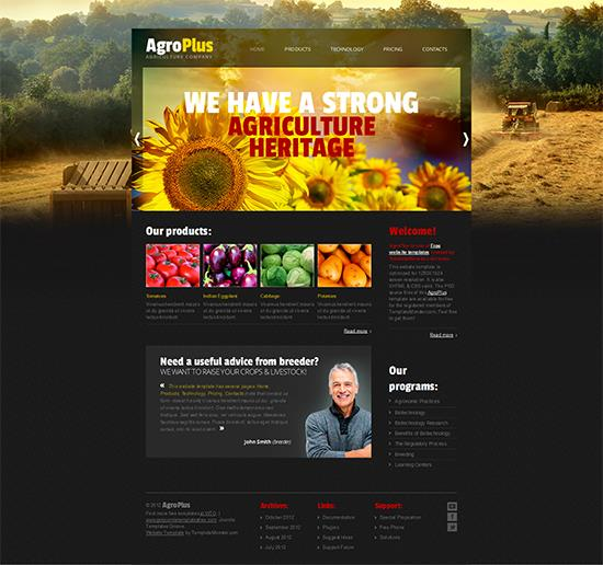 20 free business htmlcss templates agroplus business template fbccfo Images