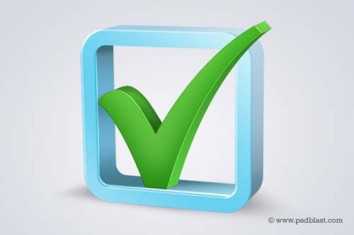 3d Check Box Icon