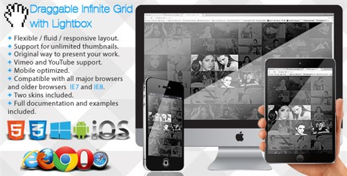 Draggable Infinite Grid with Lightbox