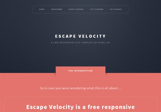 EscapEvelocity Responsive Html5 Theme