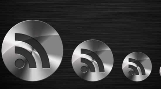 Metal RSS Button in Photoshop
